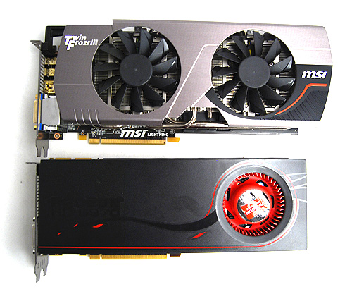 The MSI R6970 Lightning looks considerably stockier thanks to the large Twin Frozr III cooler.