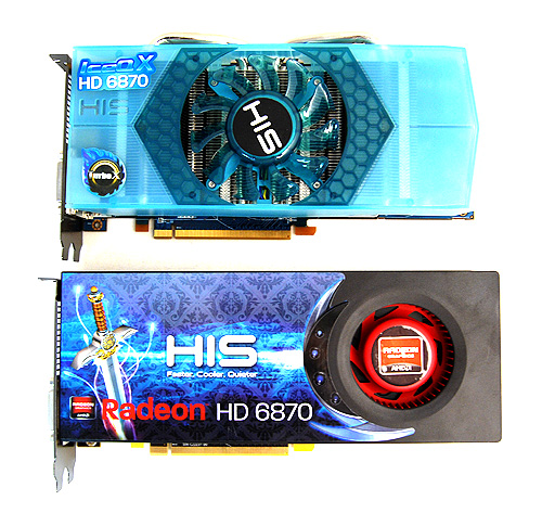 The new HIS Radeon HD 6870 IceQ X Turbo X above and the Radeon HD 6870 Turbo below.