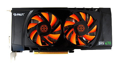 The orange and black color scheme is eye-catching, and here we can clearly see the twin fans. Look closely and under the fans you'll catch a glimpse of heat pipes which help dissipate heat evenly across the multiple cooling fins.