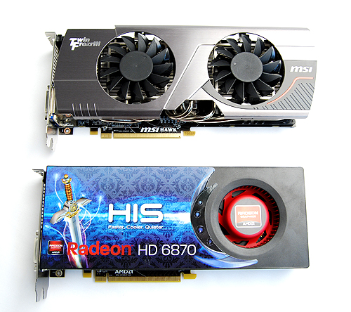 The MSI R6870 Hawk is about the same length as the reference card, but it looks much beefier thanks to its Twin Frozr III cooler.