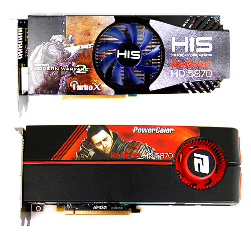 Like most custom-designed Radeon HD 5870 cards, the HIS one has its fan relocated to the middle, directly above the GPU core.