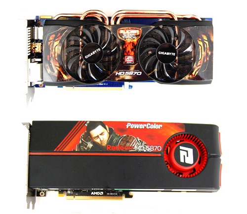 With its dual fan coolers and thick protruding heat pipes, the Gigabyte HD 5870 Super Overclock looks nothing like a reference card.