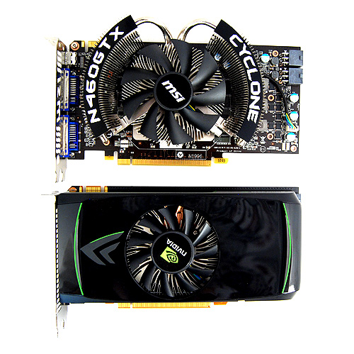 The MSI N460GTX Cyclone above and NVIDIA's reference GeForce GTX 460 below.