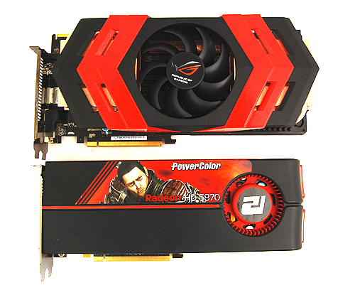 The Radeon HD 5870 is not a small card, but look how the Ares dwarfs it.