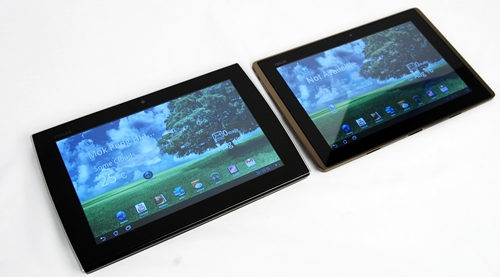 Both the Slider and the Transformer have thick bezels around their 10.1-inch displays.