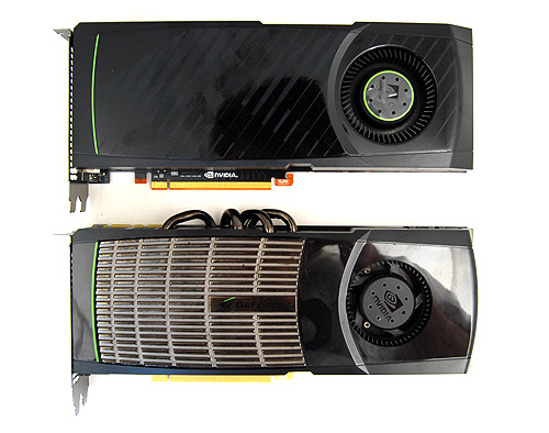 Despite packing more graphics horsepower, the GeForce GTX 580 is the same length as the GTX 480 and looks less bulky thanks to the absence of protruding heat pipes.