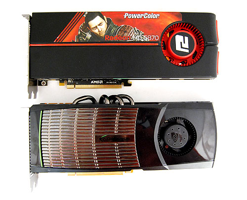 Length-wise, the GeForce GTX 480 and the Radeon HD 5870 is about the same, but the Geforce GTX 480 looks a tad stockier.
