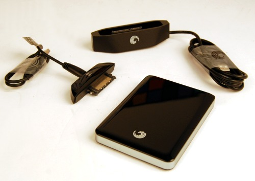 The contents of include the Seagate FreeAgent GoFlex Pro 500GB drive, GoFlex USB 2.0 interface cable, and the GoFlex Dock.