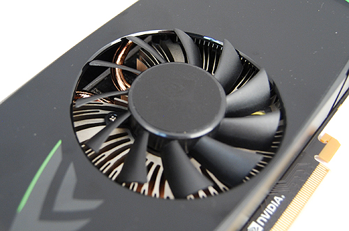 The GeForce GTX 460 uses a radial heatsink design, and peering closely, we can see the use of copper heat pipes to quickly draw and dissipate heat away from the GPU core. On casual glances, the aluminum heatsink design resembles that of an old Intel stock cooler, but that's just a side note for techies.
