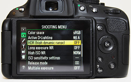 The HDR feature is buried inside the Menu, and once a shot is taken it switches off automatically.