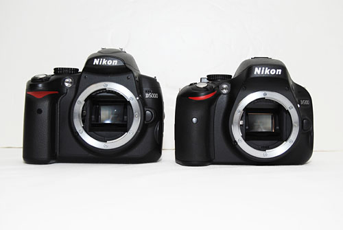 The D5100 is a noticeably shorter and curvier camera than the D5000. Can you guess which is which?