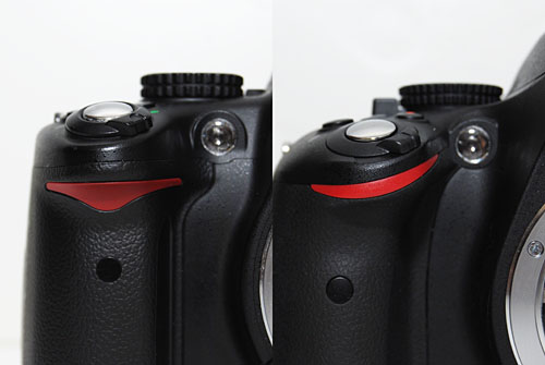 In a break from recent tradition, the D5100 modifies the Nikon red triangle (left) into a swooping curve (right).