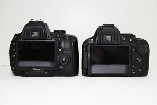 The back of the D5000 (left) in comparison with the D5100 (right).