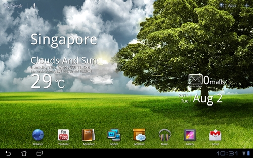 Seen here are three of ASUS's widgets: the weather widget on the left, the ASUS E-mail Widget on the top right and the ASUS Time directly below it.
