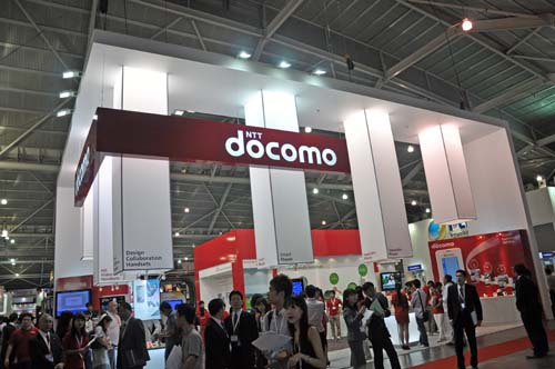 NTT docomo's booth is the place to be check out all the coolest Japanese phones.