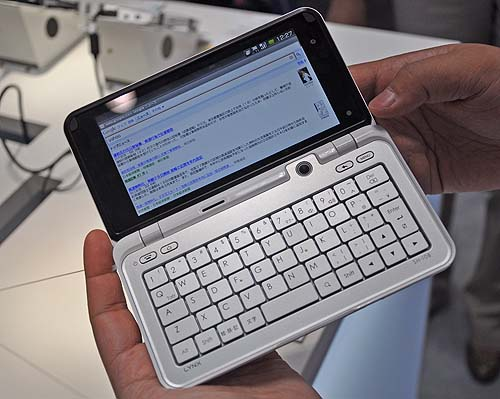 We also spotted this Android based phone, the Lynx SH-10B from Sharp that looks like it could give mini-tablet devices from Fujitsu a run for their money. Great for bloggers who want to blog away from the computer!
