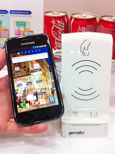 Simply tap an NFC enabled mobile phone to a receiver, and payment is made.