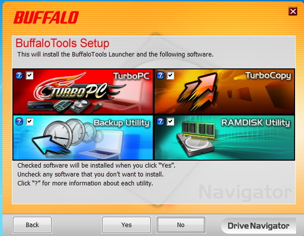 Screenshot of some of the bundled software of the Buffalo MiniStation USB 3.0.