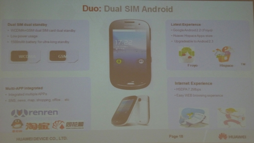 The Duo handset is geared towards those who require two separate SIM cards for business and personal use but do not wish to carry separate phones.
