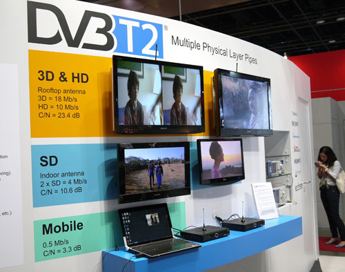 The Digital Video Broadcasting project consortium was also there to showcase their technological wares. Here's a sneak preview of what you can expect from the new DVB-T2 digital standard, embellished with three PLP (Physical Layer Pipes) for three different services.