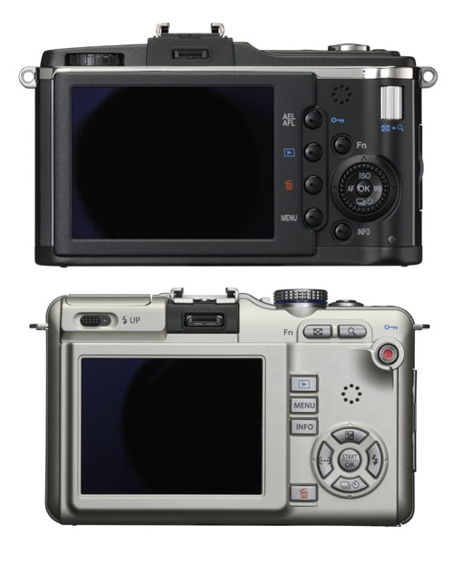 The E-P2 (above) and E-PL1 (below). Models not shown to scale.