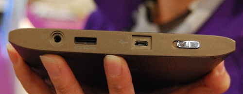 The BenQ nReader is not the thinnest of ebook readers and we saw these connectors on it, including a microSD card slot and a mini USB port.