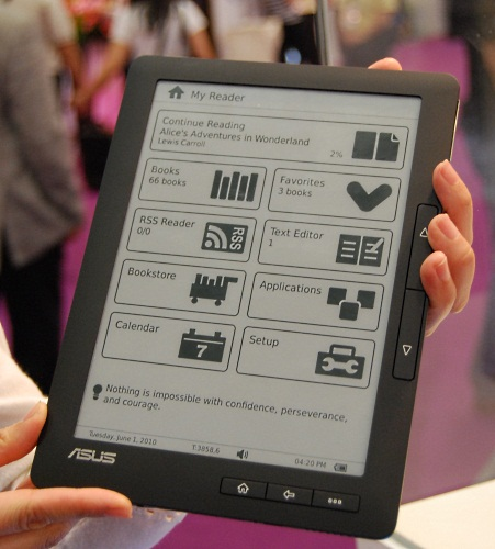 The ASUS DR-900 ebook reader looks very slick and polished. ASUS has chosen the electronic paper display from SiPix and like E Ink, it requires no backlight or constant refreshing of the image. This 9-inch version is also very light at less than 500g.