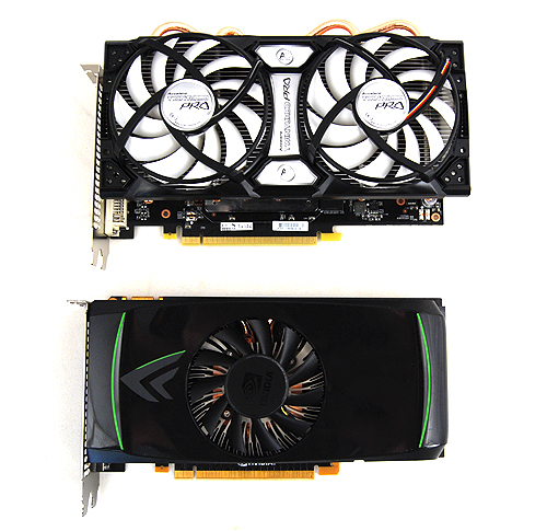 The ECS GeForce GTX 460 Black is a giant amongst other GTX 460 cards, such as the reference edition pictured below it.