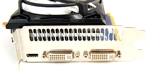 The ECS card gets the usual twin DVI ports and single HDMI port for video output.