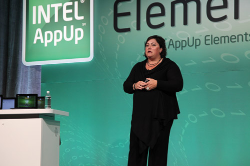 Renee James, senior vice president and general manager of Intel Software and Services Group delivering her opening keynote at Intel AppUp Elements 2010.