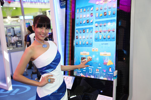 An interactive slot machine with a 46-inch vertical touch screen driven by Intel vPro technology, Intel integrated graphics and Windows 7. It features multiple slot reels, real-time roulette play and a 22-inch digital sign. Placing multiple bets were never this easy.