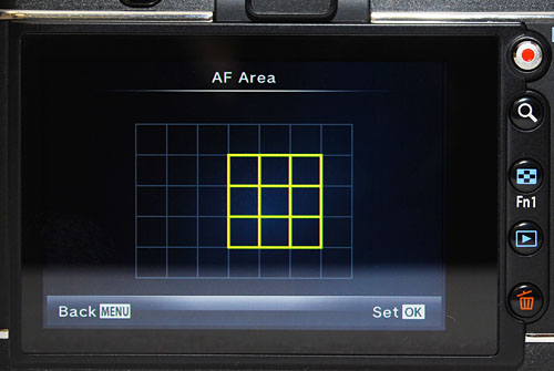 The E-P3 gains an interesting AF option to focus by area, but it's buried within the menu system.
