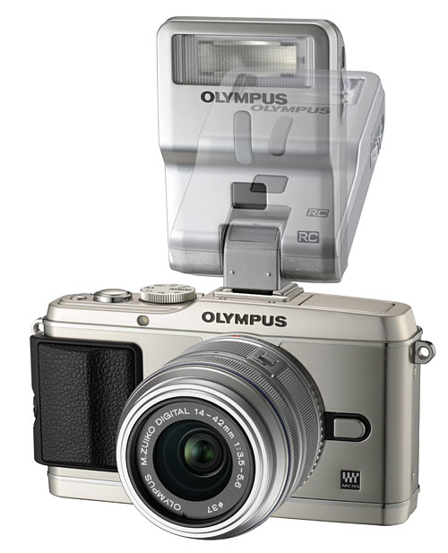 The E-P3 with the new Olympus FL-300R flash attachment, which comes with an in-built diffuser, can be rotated to bounce the flash, and detached for use as a wireless off-camera flash.