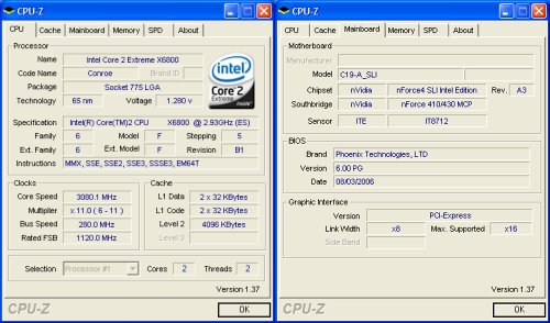 CPU-Z overclocking screenshot - Notice that CPU-Z is still detenting the board as a C19-A SLI as the components and BIOS are essentially identical. Click for larger image.