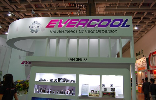 Evercool's booth has a range of cooling products on display.