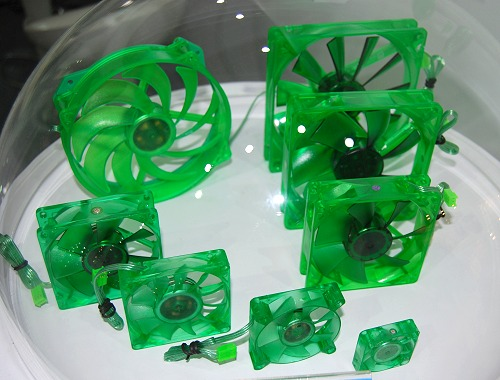 These green fans are literally compliant with RoHS standards, There are many different sizes but all are rated at 16 decibels or less.