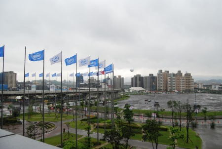 The cool season outside of the Nangang Exhibition halls in Taipei, Taiwan where a bulk of the Computex 2011 show will take place along with the Taiwan World Trade Center area.