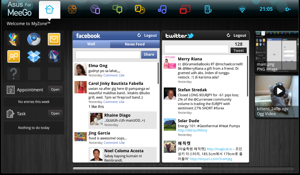 Here is the screenshot of the MyZone console. Shown here are the sub-consoles for Facebook and Twitter.