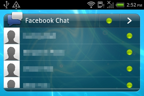 The Facebook Chat widget has a similar interface to the browser variant of Facebook Chat, allowing you to view contacts who are online and/or offline.