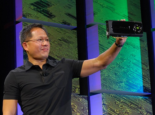 NVIDIA CEO Jen-Hsun Huang shows off the company's latest and most advanced GPU yet.