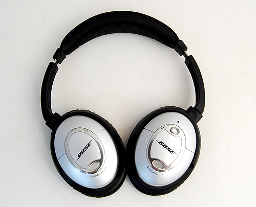 The headphones can be folded flat for easy storage.