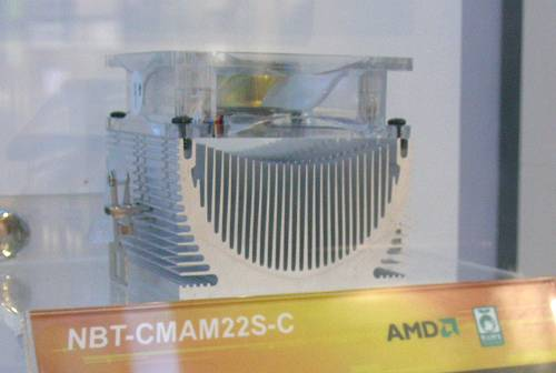 One of the more interesting AMD cooler designs from Foxconn, the NBT-CMAM22S-C is otherwise quite a normal heatsink cooler with a copper insert.