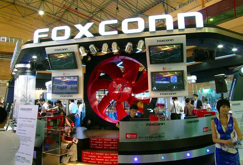 Foxconn's booth this year is probably their most elaborate with a huge fan decoration that actually moves!