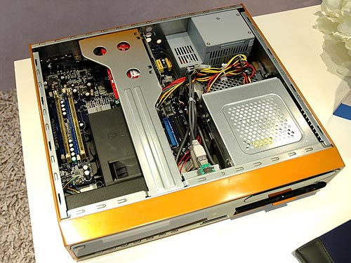 Inside the PC, you'll find a micro-BTX motherboard and a standard set of basic PC features.