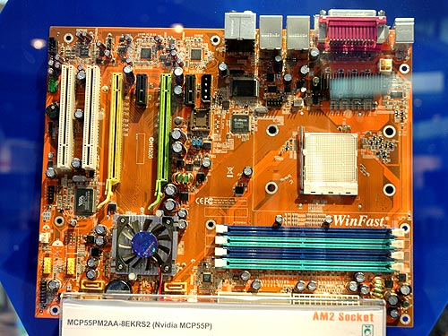 The MCP55PM2AA-8EKRS2 motherboard is based on the single chip NVIDIA MCP55P solution. Offering two PCIe graphics slots for SLI setup (x8 lanes in each slot in SLI mode), the board is also designed with a digital PWM power module that, according to Foxconn, offers the best reliability. The board features eSATA, S/PDIF in/out, IEEE 1394a and dual Gigabit Ethernet.