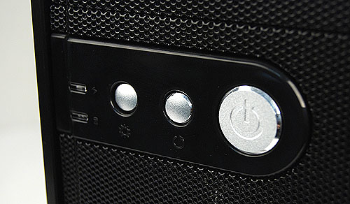 The Power and Reset buttons are located further down. The left most button allow users to turn on and off the LED lights on the front intake fan.