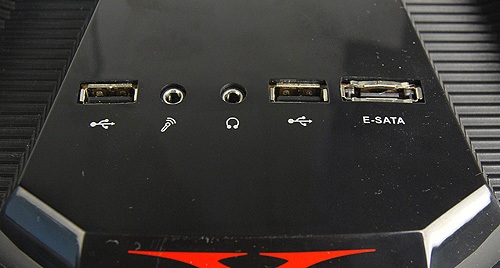 The front I/O panel is adorned with two USB 2.0 ports, an eSATA port, and headphones and microphone jacks,