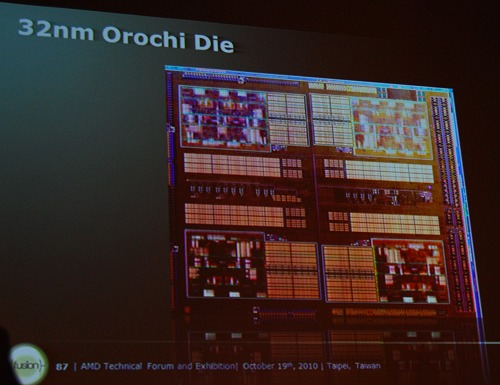 The next generation APU revealed - Orochi. It will use four Bulldozer modules for a total of 8 processing cores to execute 8 threads.
