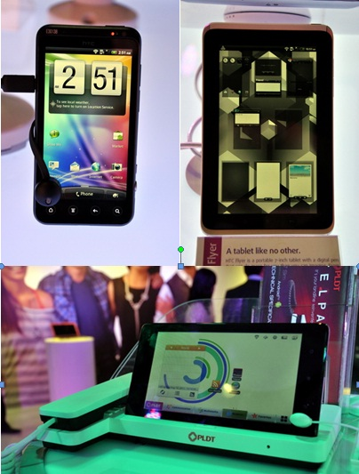 Soon-to-be-launched products like (in clockwise direction) the HTC EVO 3D, HTC Flyer, and the latest PLDT TelPad made an appearance during the event. The TelPad is slated to be launched at the end of the month.