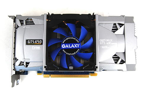 The Galaxy GeForce GTS 450 Super OC sports the same detachable flip-fan cooler that we've seen on their custom designed GeForce GTX 460 and GTX 470 cards.